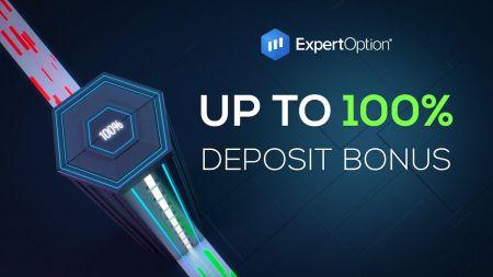 ExpertOption Hoş Geldiniz Promosyonu - 500 $ 'a Kadar% 100 Para Yatırma Bonusu